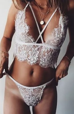 SIENNA WHITE LACE BRALETTE AND BRIEFS SET